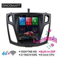 Sinosmart Tesla Style Vertical HD screen 9.7'' car gps multimedia for Ford Focus 3 MK 3 2012,2013,2014,2015,2016 2017 2018 2019
