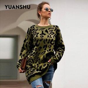 Image 4 - YUANSHU 2020 カジュアルなビッグサイズプルオーバーニットヒョウ柄の女性のセータートップ O ネック春秋のルース女性ジャンパー
