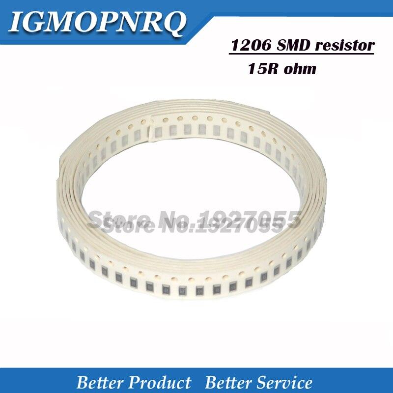 100PCS 1206 15R SMD Resistor 1% 15 Ohm Chip Resistor 0.25W 1/4W 15R  SMD Resistor