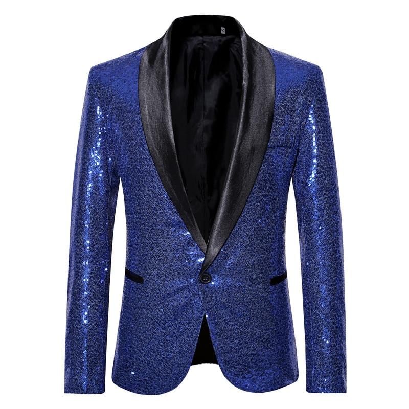 Luxury Royal Blue Sequin Blazer Men Nightclub Stage Shaw Collar Men Suit Jacket Wedding Party Prom DJ Singer Blazer Masculino