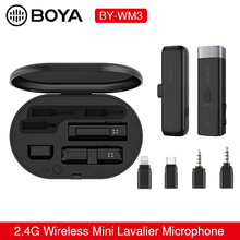 BOYA BY-WM3 2.4GWireless Microphone Mini Lavalier Mic Interview Mic for iPhone iOS Lightning Android Type-C Smartphone Recording