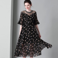 black chiffon lace floral dresses women natural 2020 summer brand long casual sexy office work beach dress plus size dropship