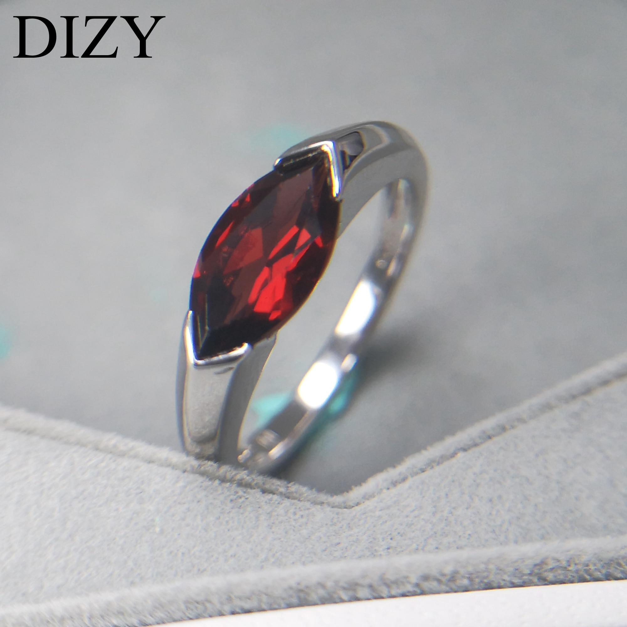 DIZY Marquise 2.0CT naturel grenat anneau 925 en argent Sterling bague en pierres précieuses pour les femmes cadeau de mariage bijoux de fiançailles