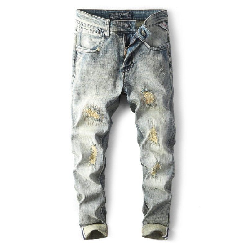 Europe And America Four Seasons Paragraph Medium Waist Jeans Slim Fit Elasticity Popular Brand Medium Waist Youth Trousers [QQ G