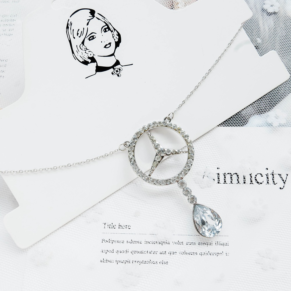 Hot Selling Mercedes Oil Spill Necklace Women's Water Droplet Pendant Zircon Circle Choker Versatile Long Neckacle Women Jewelry