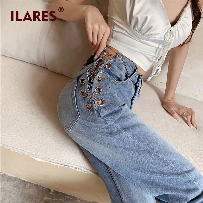 ILARES Jeans Woman Mom Women High Waist Hollow Out Chain Design Denim Womens 2020 High Waisted Vintage Ladies Jeans Woman Pants