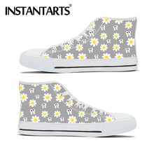 INSTANTARTS Classic High Top Vulcanized Canvas Ladies Shoes Sunflower Fun Dental Print Lace Up Flats Women Sneaker Calzado Mujer