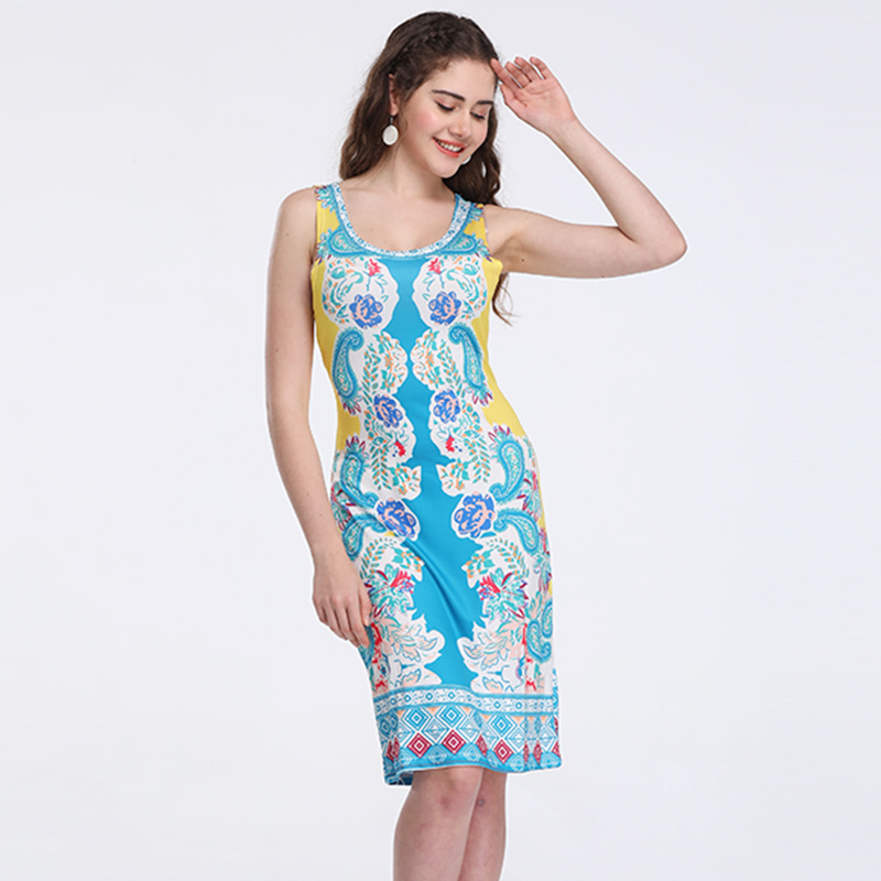 Printed Retro Dress Summer Slim Skinny Women Womens Step Without Sleeves 2019