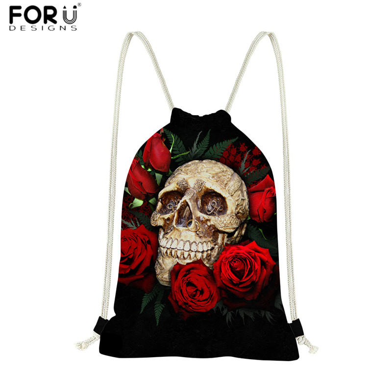 FORUDESIGNS Fashion Drawstring Bags Punk Skull Rose Print Leisure String Backpack For Female Cinch Sack Worek Plecak Sznurek