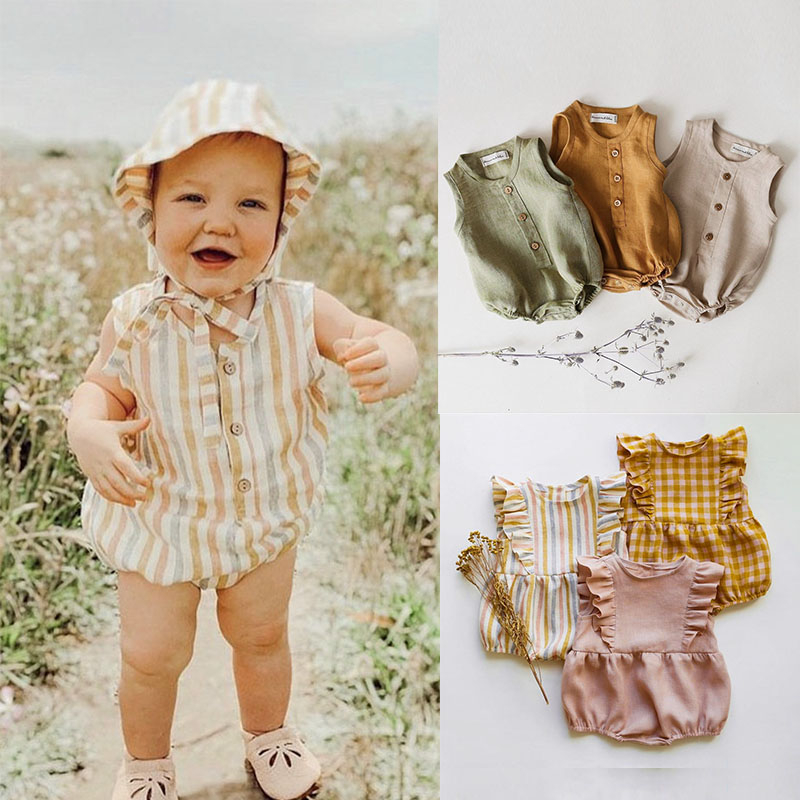 2020 Rainbow Linen Baby Boys Girls Summer Romper Brother Sister Machthing Toddler Sleeveless Rompers Baby Bubble Playsuit Onesie
