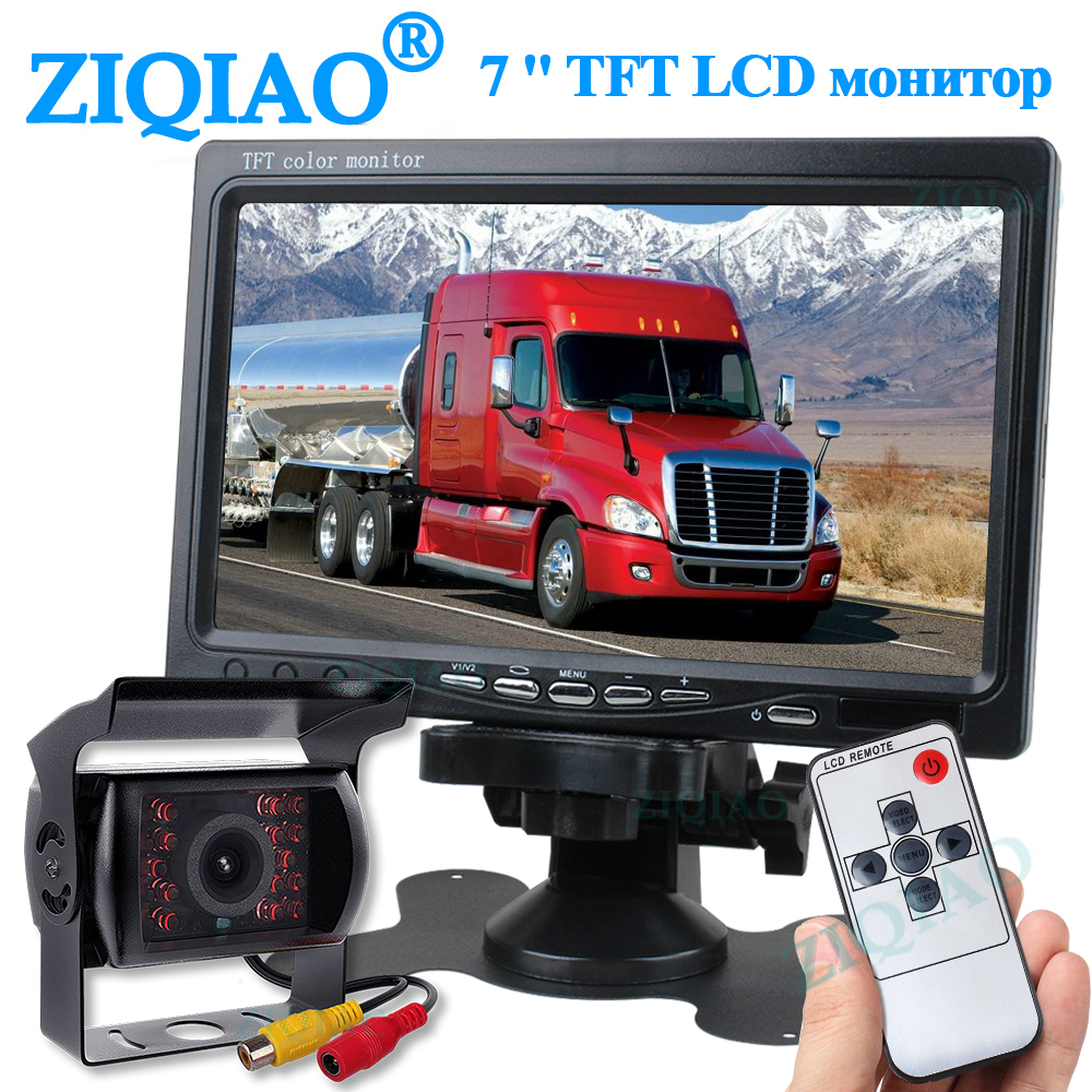 Otomobiller ve Motosikletler'ten Araba Monitörleri'de ZIQIAO 7 inç Lcd kamyon otobüs ters park monitörü IR kamera için araç monitör ekran sistemi seti title=