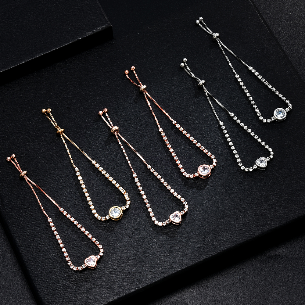 Heart Round Bracelet Accessories Simple Cute Crystal Chain Bracelet for Women Charm Sweet Jewelry Gift bracelet femme jonc