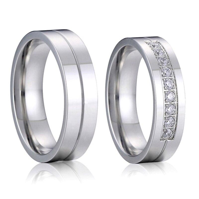 Aliança de casamento amor casamento, conjunto de anéis para casal para homens e mulheres, de titânio, joia de aço inoxidável, anel de dedo