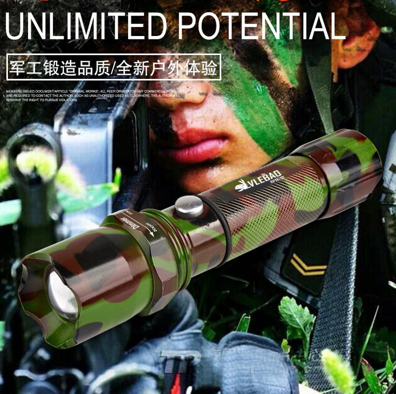 Outdoor Rechargeable Led Camouflage Strong Self Defense Flashlight Remote Zoom Charging Torch Aluminum Alloy Power By 18650 AAA