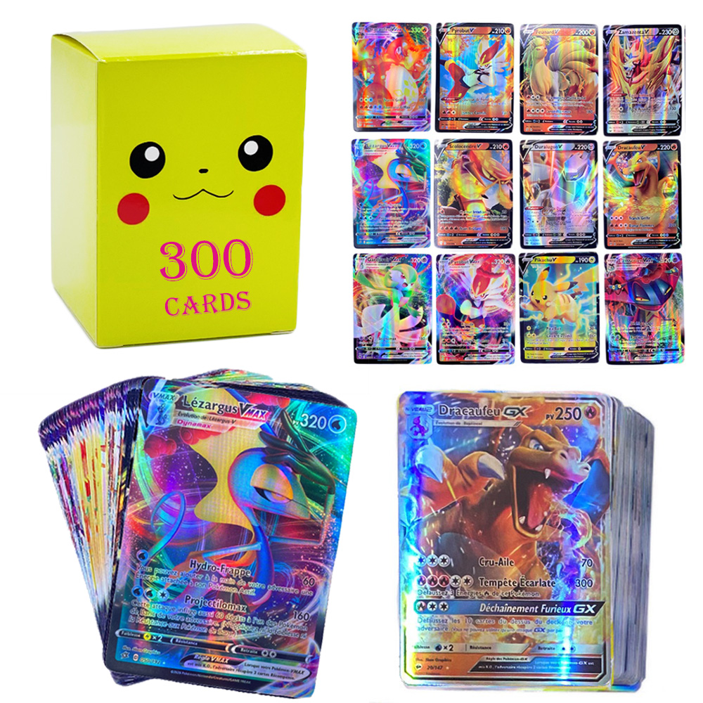 French Version Pokemon Card Featuring 300 Pcs 100 Tag Team 200 Gx 150 V VMAX 20 EX 20MEGA