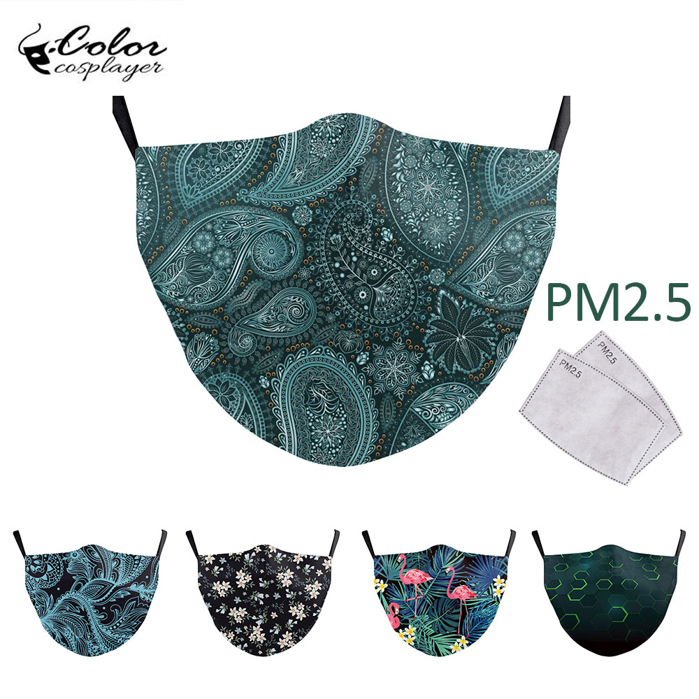 Color Cosplayer Vintage Flower Print Face Mask Washable Adult Reusable Masks Outdoor PM 2.5 Protective Aztec Printed Mask