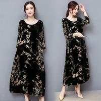 Golden Velvet Women Dress 5xl Plus Size Dresses For Women Vestidos De Fiesta De Noche Retro Ladies Dresses Vintage Robe Femme