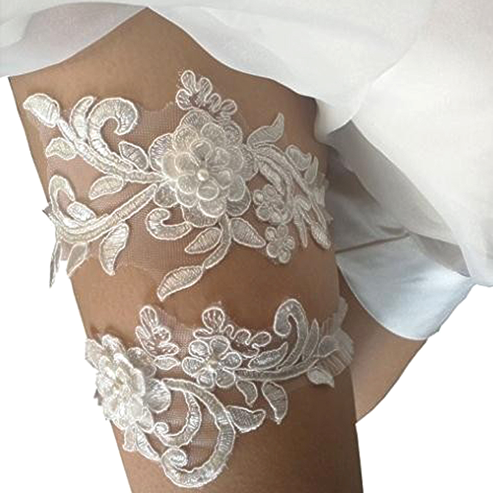 Lace Bridal Garter Flower Beaded Wedding Bride Prom Hen Party Leg Supplies