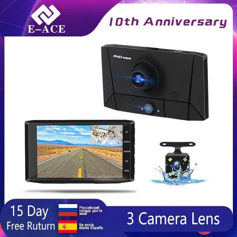E-ACE B13 DVR 4,0 дюймов Автомобильная камера 1080P Авто рекордер FHD видеорегистратор ночного видения автомобильные видеорегистраторы 3 объектива ка...
