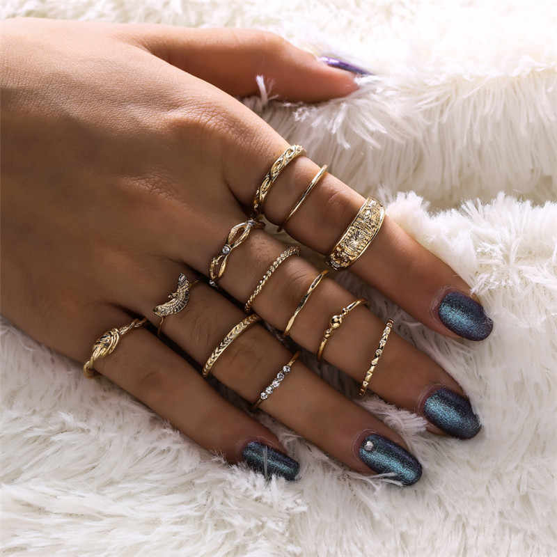 Letapi anéis de cor de ouro do vintage para as mulheres boemia étnico punk cristal dedo anel conjunto knuckle moda jóias