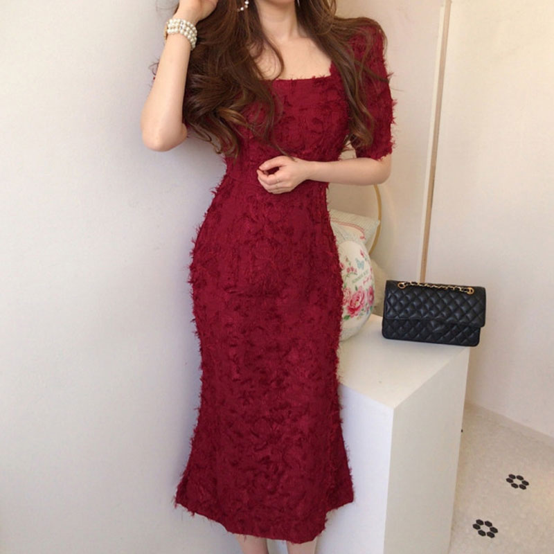 Korean Chic Summer Women Dress Square Collar Heavy Industry Feather Tassel Slim High Waist Mid-length Bag Hip Dress Female BW234