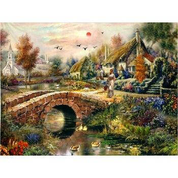 Cuadro cuadrado/redondo del paisaje del bordado del diamante 5D pintura de diamante DIY paisaje del puente del arco mosaico del diamante almaznaya