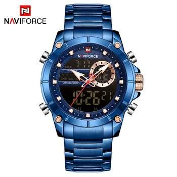 NAVIFORCE Men Military Sport Wrist Watch Gold Quartz Steel Waterproof Dual Display Male Clock Watches Relogio Masculino 9163 11