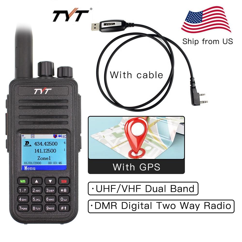 TYT MD-UV380 DMR Walkie Talkie Dual Band UHF VHF 136-174 400-480MHz 25W  Dual Time Dlot Transceiver Digital DMR Two Way Radio