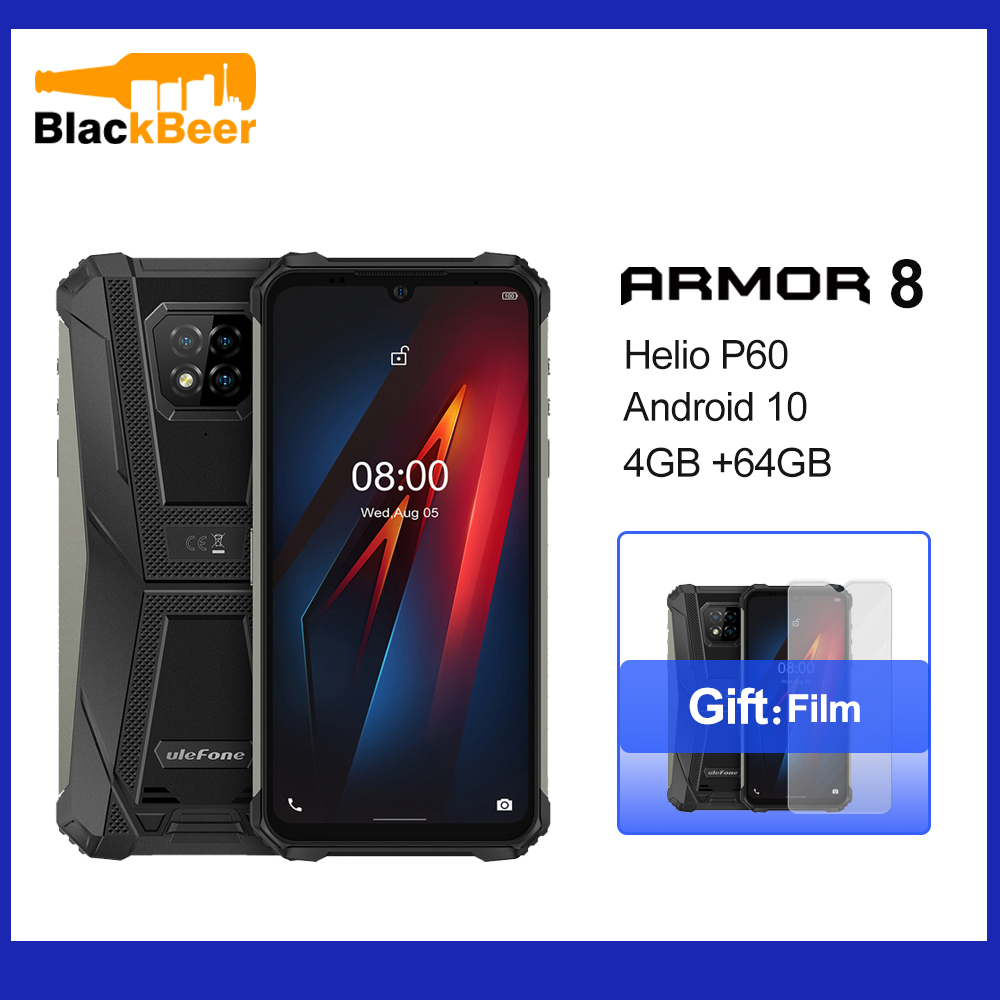 Ulefone Armor 8 Android 10 Mobile Phone IP68 IP69k Waterproof Outdoor Smartphone Helio P60 Octa Core 4GB 64GB 5580mAh Cellphone