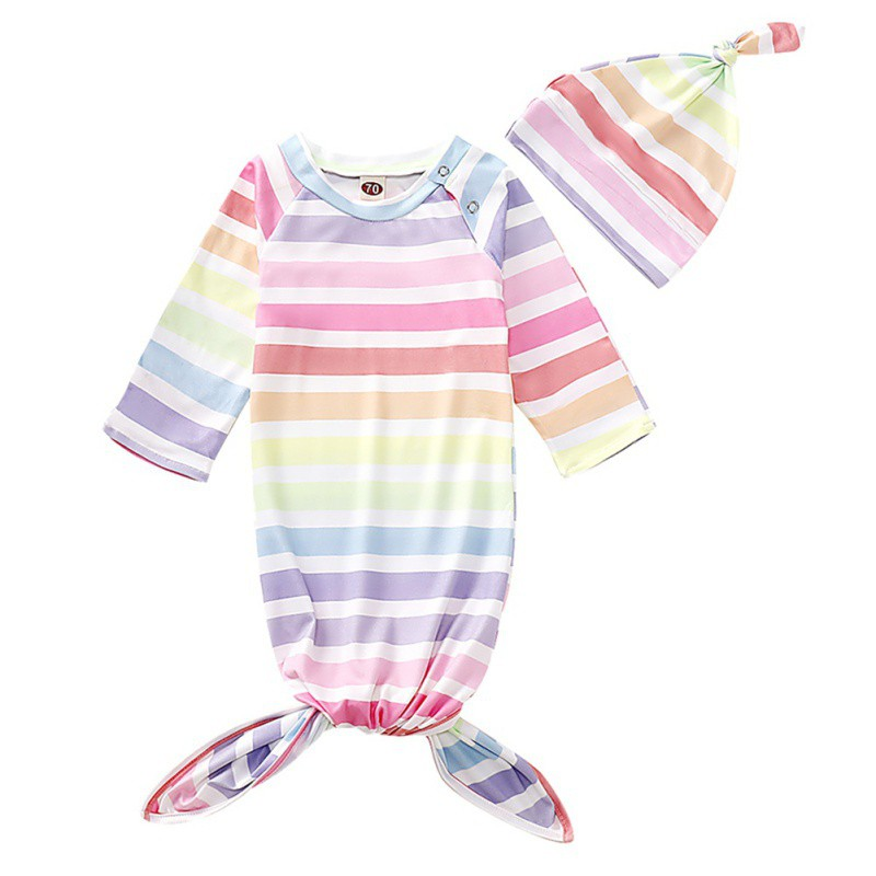 Newborn Baby Soft Colorful Striped Printing Blankets Swaddling Infant Sleeping Bag And Hat Set Newest