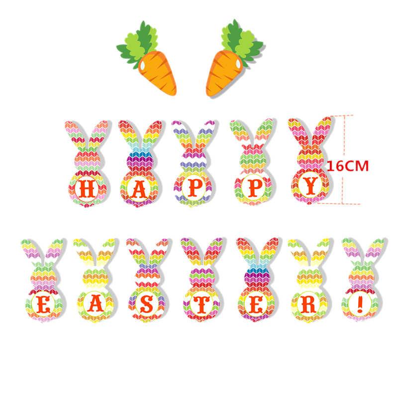 Felice Pasqua Decor Banner di Carota Coniglio di Carta Ghirlanda Simpatico Coniglietto di Pasqua 12 pollici Palloncino In Lattice di Pasqua Festa A Casa di Foto Divertenti oggetti di scena