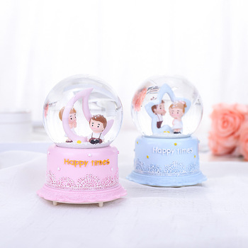 Couples Gift Valentine's Day 100mm Resin Glass Crystal Ball Snow Floating Music Box for Kids Tabletop Ornament Wedding Decor G