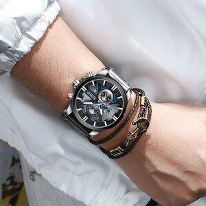 Image 5 - CURREN İzle Chronograph spor Mens saatler kuvars saat deri erkek kol saati Relogio Masculino moda hediye erkekler için