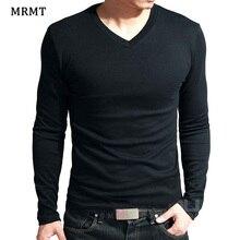 Эластичная Мужская футболка с v-образным вырезом и длинным рукавом, Мужская футболка из лайкры и хлопка, Мужская одежда, футболки, брендовые футболки