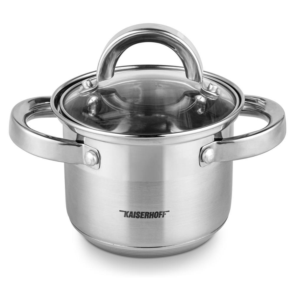Бинауральные кастрюли для приготовления пищи из нержавеющей стали, 12 см, 1 л, кастрюля для молока, кухонные принадлежности, подходит для инду...