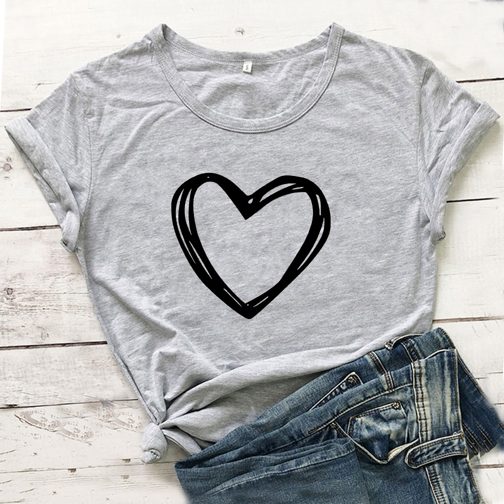 Heart Graphic Tees Women Top Short Sleeve Cotton Tshirt Women O-neck T Shirt Women White Camiseta Mujer Casual Tee Shirt Femme 1