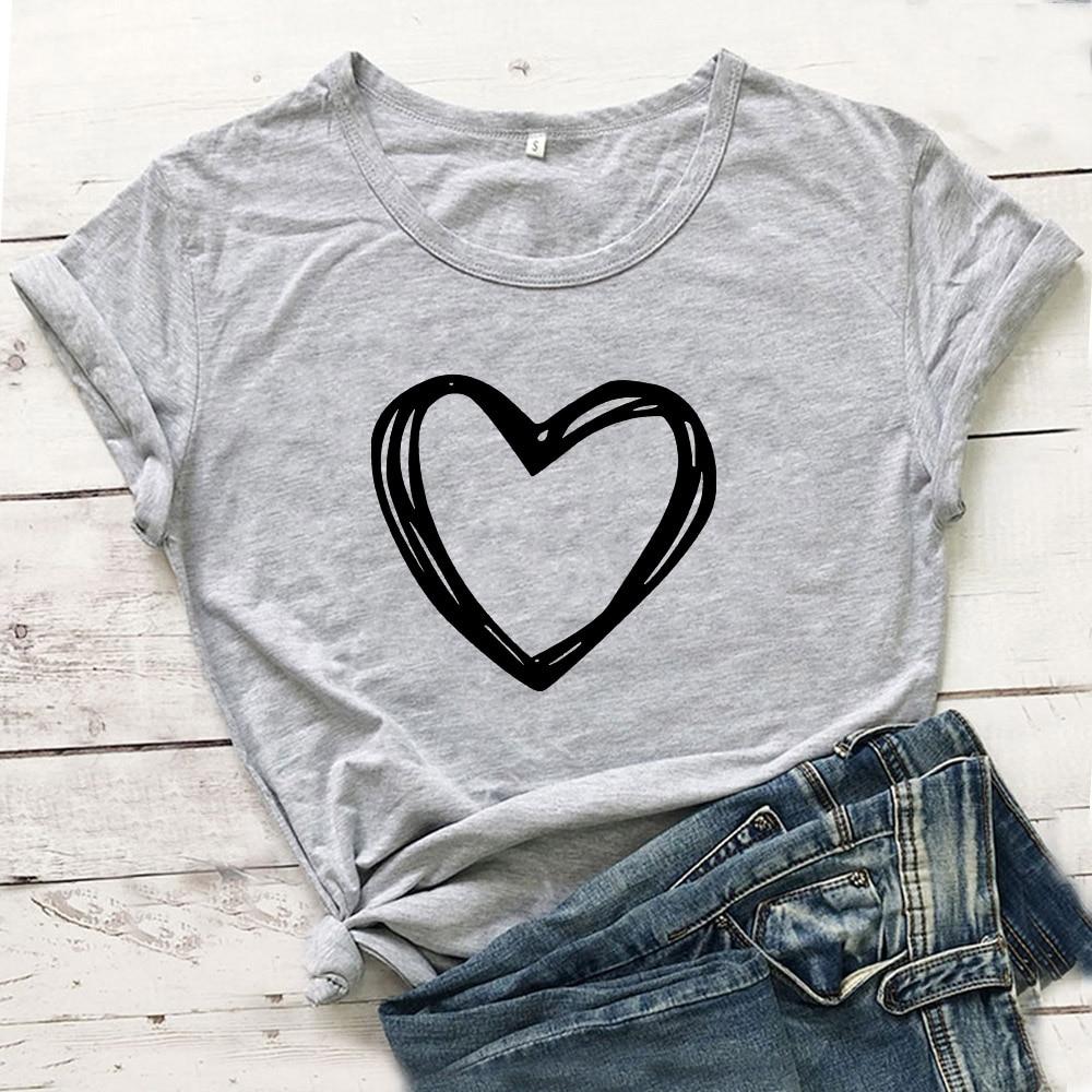 Heart Graphic Tees Women Top Short Sleeve Cotton Tshirt Women O-neck T Shirt Women White Camiseta Mujer Casual Tee Shirt Femme 1