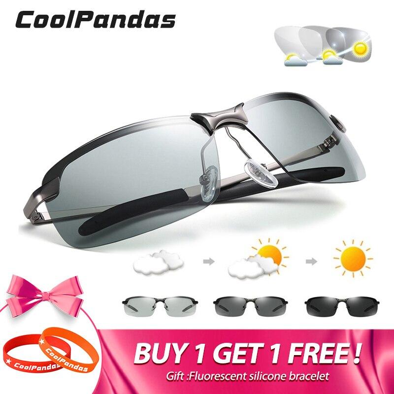 HD Men UV400 Photochromic Sunglasses Polarized Lens Sun Glasses Outdoor Glasses