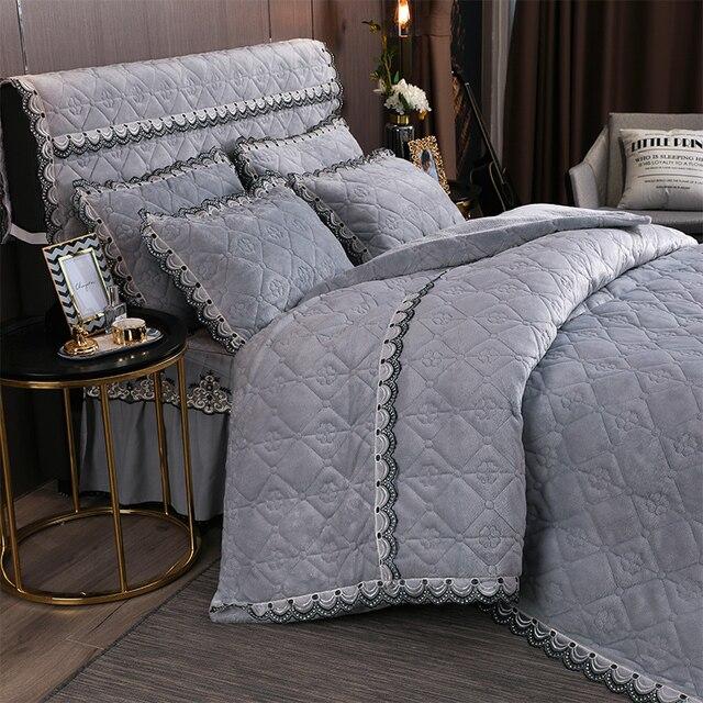 Ensemble de literie Super doux et chaud   Housse de couette en velours matelassée, couvre-lit doreillers, couvre-lit en laine pour hiver 4/6 pièces