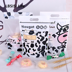 LBSISI Life 50pcs Nougat Candy Zip Lock Stand Up Crisp Bags Self Stand Cookie Snowflake Food Chocolate Hold Pack Plastic Bag
