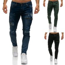 Casual Denim Trousers Jeans for Men Slim fit Skinny Broken Zippered MaleBlack Green Blue