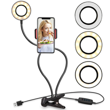 2 IN 1 Phone Holder 3 Modes Ring Light Photographic  Lighting with Fill Light Desktop Adjustable Mount live video streaming