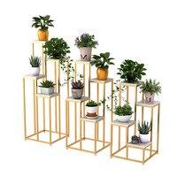 living room floor flower metal shelf balcony metal plant stand indoor iron flower rack Creative marble garden stand for