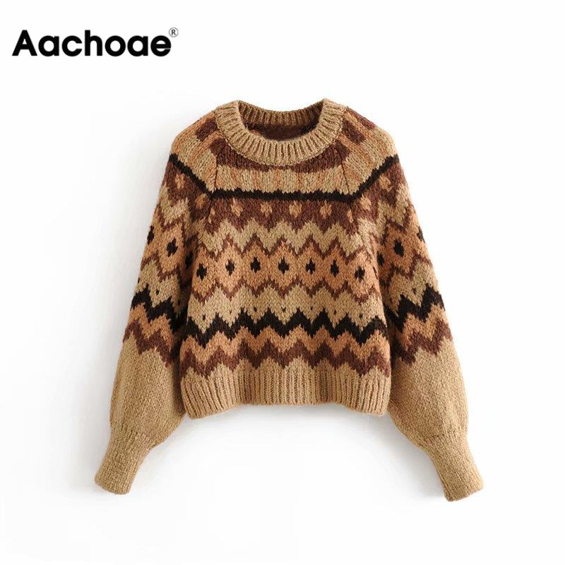 Aachoae Women Casual O-neck Printed Sweater 2020 Spring Long Sleeve Fashion Pullover Tops Female Vintage Elegant Jumper Pull