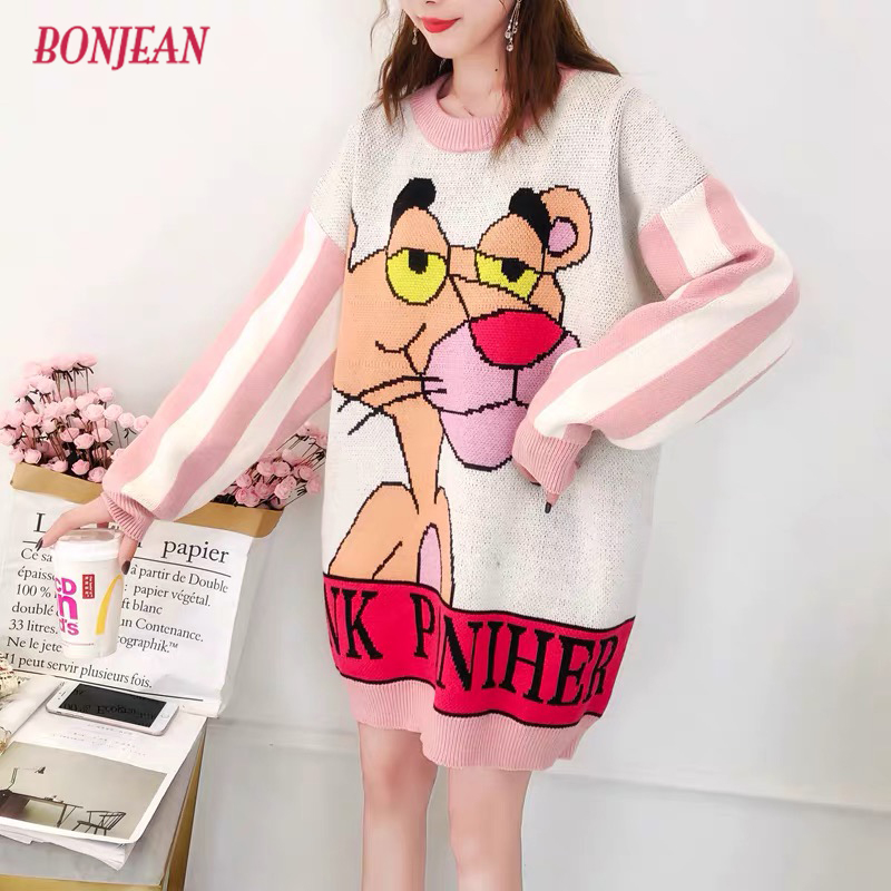Sweater Dress Women Plus Size Knitted Cartoon Oversized 3XL Pullovers Pink Panther Leopard Loose Harajuku Long Sleeve Jumper