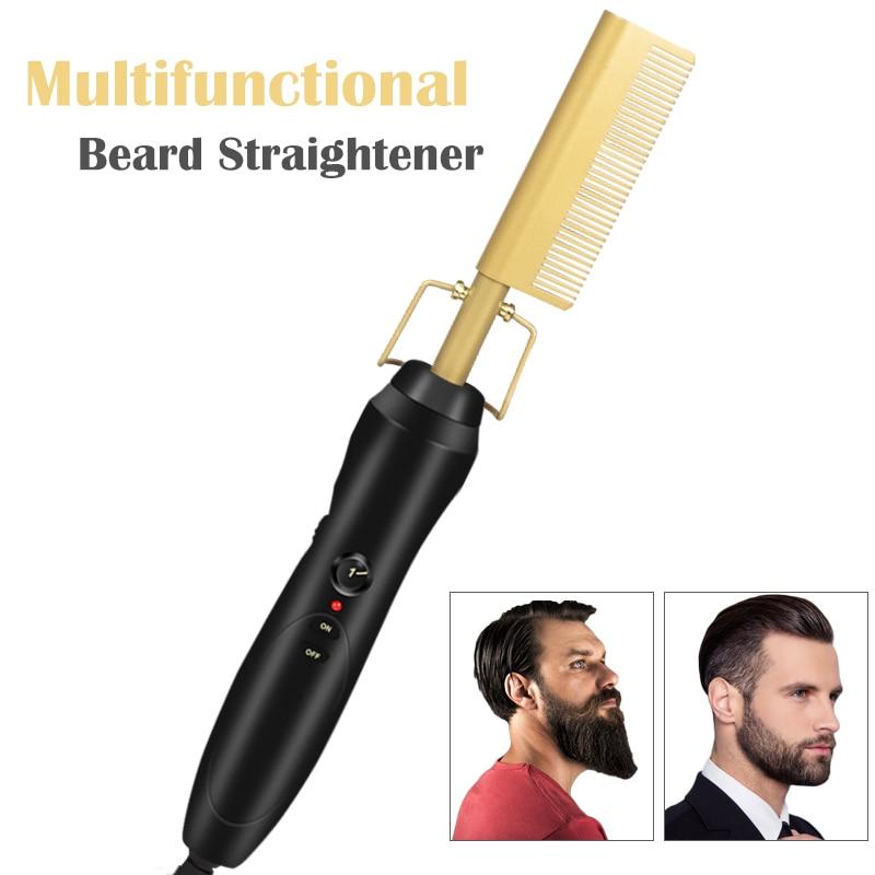 Professional Beard Straightener Brush Hairdressing Comb Multifunctional Man Woman Hair Straightening Brush Beard Electric Comb