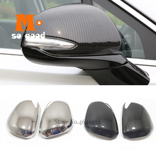 ABS Chrome/Carbon Fibre For Hyundai Santa FE 2018 2019 2020 Car Side Door rearview Turning mirror Cover trim Accessories