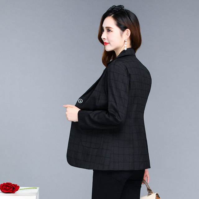 PEONFLY Spring Jacket Women Coats Retro Plaid Outwear Casual Turn Down Collar Office Wear Work Single Breasted Jackets Blazer 5