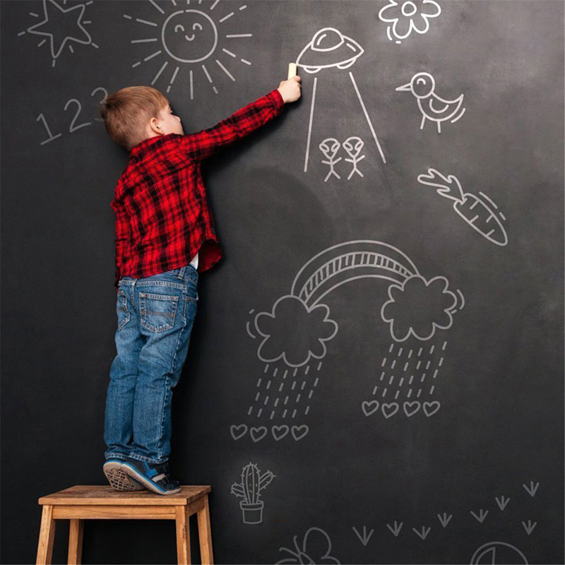 Reusable Removable PVC Blackboard Stickers Removable Vinyl Research Board Message Board For Home Bedroom Kids Room Door Decor