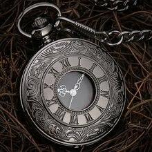 Черные кварцевые карманные часы с римскими цифрами для мужчин
